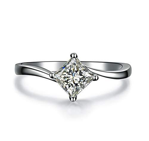 KnSam 18K Oro Blanco Anillo, Anillo de Bodas Rombo, Diamante D-E, Color Plata, Diamante Principal 0.4ct - Talla 15