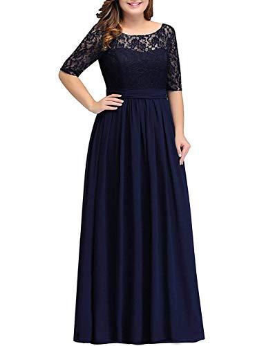 HUINI Abendkleid Chiffon Vintage Ballkleid Brautmutterkleid V-Ausschnitt Hochzeitkleid Damen mit Ärmel Navy 54