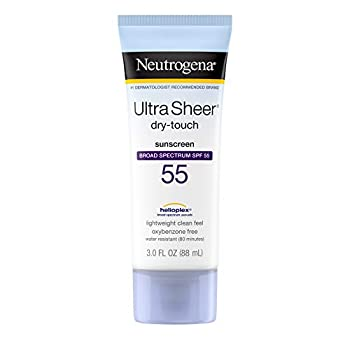 Neutrogena Ultra Sheer Dry-Touch Sunscreen Lotion Broad Spectrum UVA/UVB Protection Oxybenzone-Free Light Water Resistant Non-Comedogenic & Non-Greasy Travel Size SPF 55 3 Fl Oz