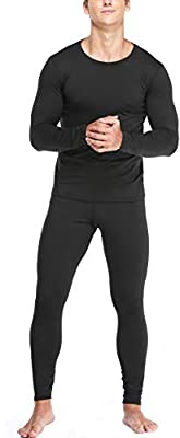 Men' s Thermal Underwear Set with Lightweight Ultra Soft Fleece Lined,Long John Set, Moisture-Wicking Skiing Base Layer Black