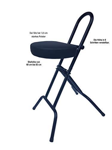 LIBEDOR Stehhilfe Sitz Sitzhilfe Stehstütze Stehhocker Stehsitz mit 6 cm ergonomischer Polster, bis 130 kg belastbar für Menschen ab 155 cm GROß