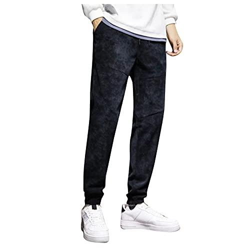 Yue668 Sarouel - Pantalón corto para hombre, estilo informal de otoño con pies, para hombre, para el tobillo, con punto, para el tobillo