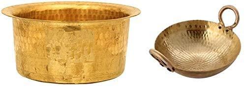 Theglobalstore Cookware for Kitchen Utensils Combo Brass Hammered Kadai 4 Litre Wok With Brass Patila 4 litre Topia