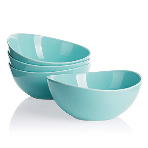Sweese 103.102 Porcelain Bowls - 28 Ounce for Cereal, Salad and Desserts - Set of 4, Turquoise