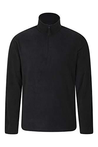 Mountain Warehouse Herren-Camber-Fleece - Ultraleicht, atmungsaktiv, wasserdichte Jacke, schnell trocknend, Antipilling-Sweatshirt, extra Belüftung - zum Wandern, Winter Schwarz Large