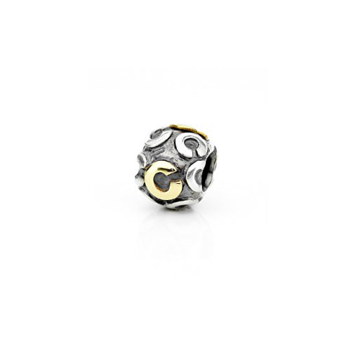 Akki Buchstabe Charms Beads für Armband Kette Angebot Perle Kompatibel mit Starter Alle Gold Silber Schmuck Letter Sternzeichen Liebe C