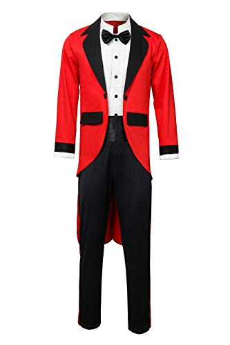 Adult Men Kids PT Barnum Red Circus Ring Master Ringmaster Showman Costume Tailcoat Jacket Outfit (Large, Child)