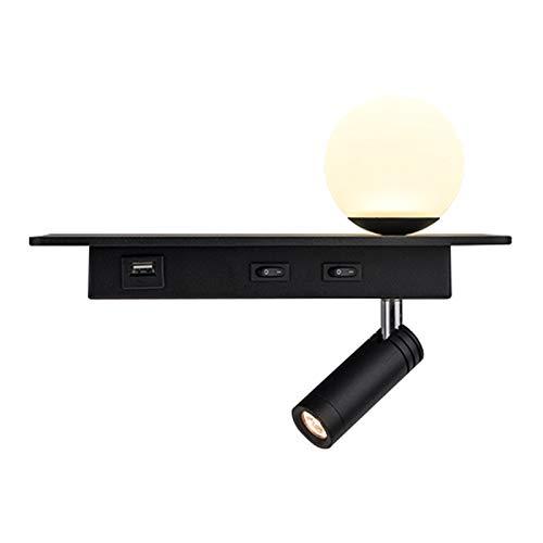 Luz de lectura LED Lámpara de pared con interruptor y USB conexión, lámpara de noche dormitorio niños Iluminación de pared - 5W atmosphere lamp y 3W lámpara de lectura, blanco cálido, 3000K, negro