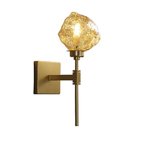 YXLMAONY Forma de hielo creativo, lámpara de pared de ámbar electroplatada E14 Lámpara de pared de una sola cabeza, lámpara de pared de fondo de decoración interior, cuerpo de lámpara de hierro forjad