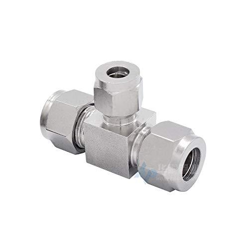 LCCMJCK Raccordo a T a tubo singolo in acciaio inox 304 con raccorderia Raccordo a virola, 6mm