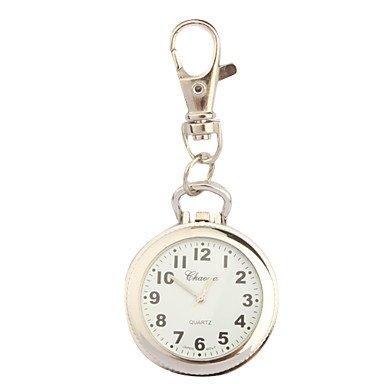 Fashion Watches Schöne Uhren, Edelstahl Taschenuhr mit Schlüsselanhänger (Farbe : Silber, Großauswahl : Einheitsgröße)