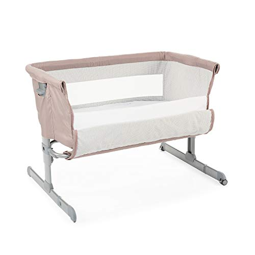 Chicco Next2Me Beistellbett Babybett mit Matratze, Abnehmbare Seite, Höhenverstellbar, Netzfenster, 2 Rollen und Transporttasche - 0-6 Monate, 9 kg