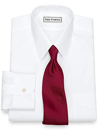 Paul Fredrick Men's Non-Iron 2-Ply Cotton Straight Collar Dress Shirt