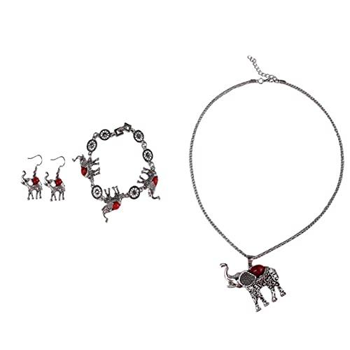 SMEJS Forma de elefante Grueso Ovalado Turquesa Colgante de plata Collar de torsión Pendientes Gargantilla Conjunto