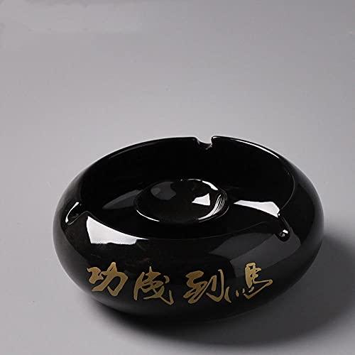 Cenicero de oficina en casa multifunción de cerámica retro europea, esmalte negro para el éxito, cenicero de 14,2 * 11 * 5 cm