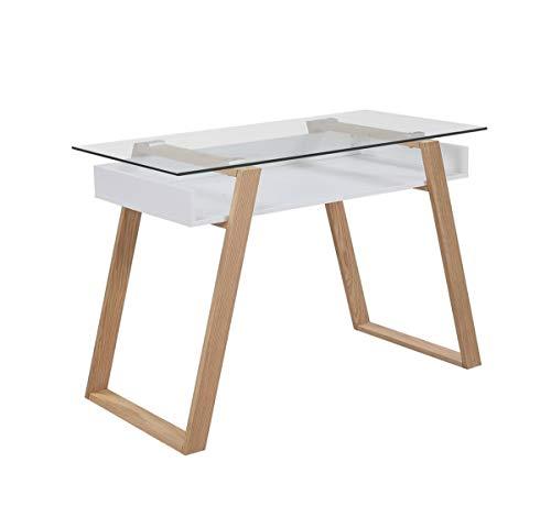 Unbekannt SalesFever Schreibtisch Schreibtisch 110x55x75 cm weiß Holz, Glas L = 110 x B = 55 x H = 75 weiß