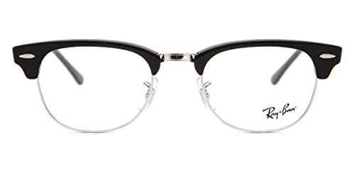 Ray-Ban Clubmaster Glasses in Shiny Black 49 Clear