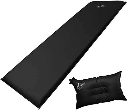normani Selbstaufblasbare Luftmatratze inkl. Kissen zum Outdoor Camping Farbe Schwarz/Grau Größe 197 x 64 x 7 cm