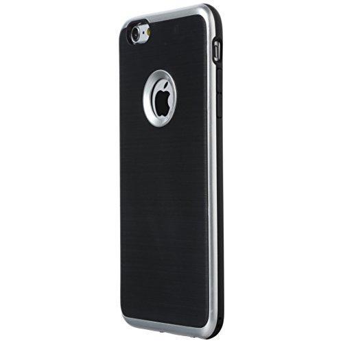 Ultratec Funda protectora de TPU / carcasa para iPhone 6+,  con diseño de contrastes y borde de color, negro/plata