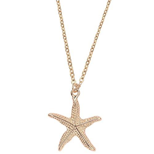 Collar con colgante de concha de concha de estrella de mar Boho para mujer, collares de playa de mar océano, cadena de eslabones de Color dorado, joyería bohemia
