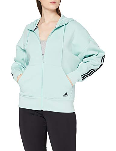 adidas W 3S DK FZ S HD Sweatshirt, Mujer, Green Tint, M