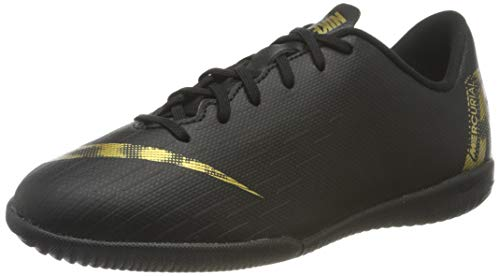 Nike Unisex-Kinder VaporX 12 Academy IC Fußballschuhe, Schwarz (Black/MTLC Vivid Gold 077), 35.5 EU