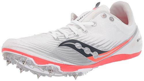 Saucony Women#039s Ballista MD Track Shoe White/Vizi red 12 M US