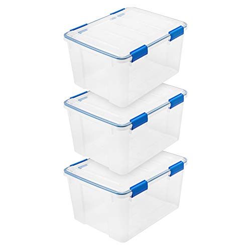 IRIS USA WSB-SD 44 Quart WEATHERTIGHT Multi-Purpose Storage Box, Clear with Blue Buckles, 3 Pack -  IRIS USA, Inc., 500018
