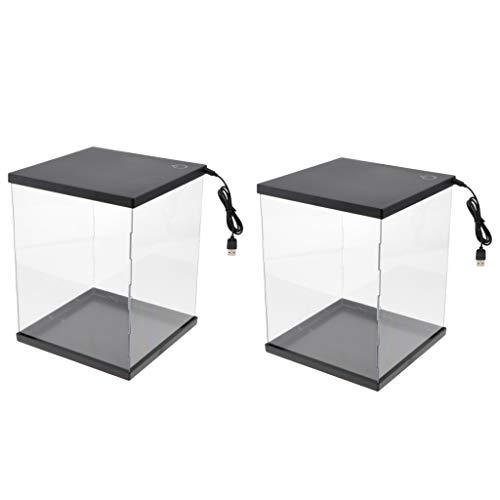lahomia Vitrina de Exhibición de Cubo de Caja de Encimera de 2 Piezas con Luz LED para Juguetes Gundam