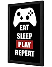 Eat Sleep Play Repeat Wall Art with Pan Wood framed Ready to hang for home, bed room, office living room Home decor hand made Black color 33 x 43cm By LOWHA
