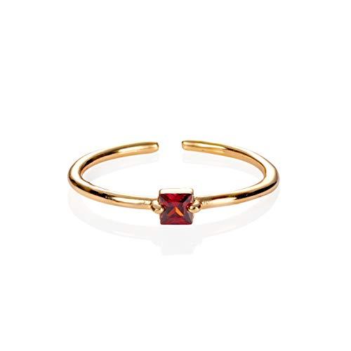 namana - Anello da donna in oro con pietra singola, regolabile, con pietra quadrata, semplice anello in oro per donne e ragazze, Oro, zirconia cubica,