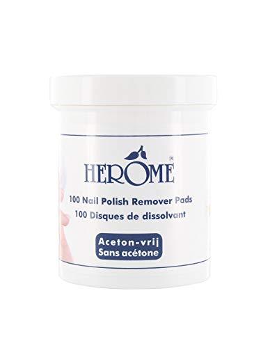 Herome Pflegender Nagellackentferner Pads - 1 x 100 pads - Nail Polish Remover Pads Acetonfrei, Mild...