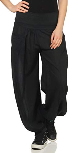 Malito Pantalones de Tela Pantalón Bombacho Ocio Deportes 17633 Mujer Talla Única (Adecuado de la Talla 36 hasta 44, Negro)