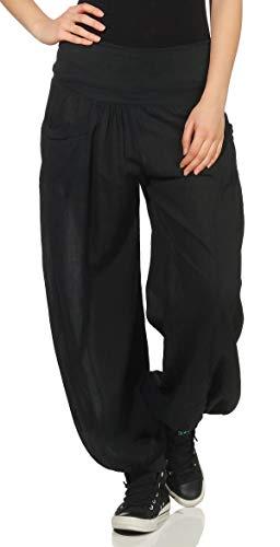 Malito Damen Stoffhose leicht | Pumphose zum Tanzen | Freizeithose zum Chillen | Haremshose - Sommerhose 17633 (schwarz)