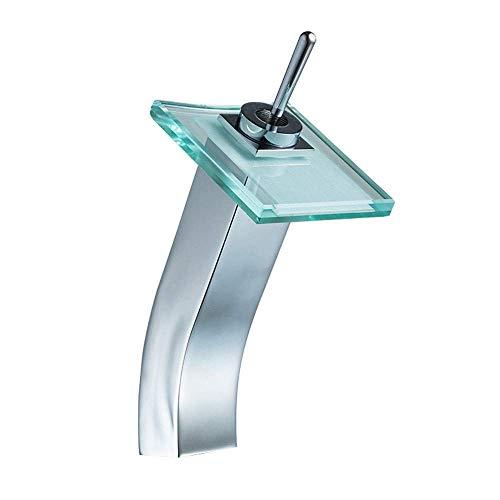 RTYUI Filtro De Agua Potable Grifo Cascada Caño De Vidrio Monomando Grifo De Baño Grifo Grifos para Recipientes De Agua Fría Y Caliente Grifos De Pico Grande (Color: Silver, Tamaño: 23.5 * 10.8Cm)