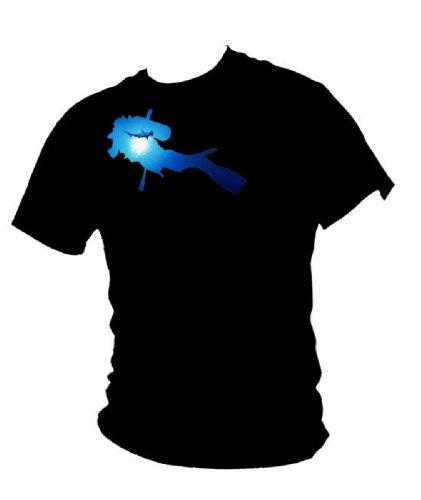 Blue Ray T-Shirts Herren Taucher & Hammerhead Shark - Tauch-T-Shirt Gr. L, Schwarz