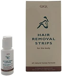 Gigi Hair Removal Strips for The Body, 24 Applications & 29 ml, 1 Fl. Oz. After wax lotion