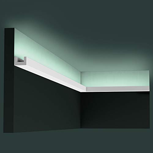 Cornisa Orac Decor CX190 AXXENT U-PROFILE Moldura para luz indirecta Perfil de estuco diseño atemporal clásico blanco 2 m