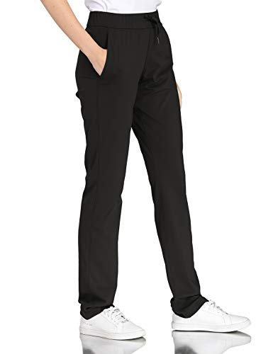 Hawthorn Athletic Track Pants for Women, Full Length Drawstring Pants with Pockets for Golf, Office, Casual 34.5'' Black L(12)