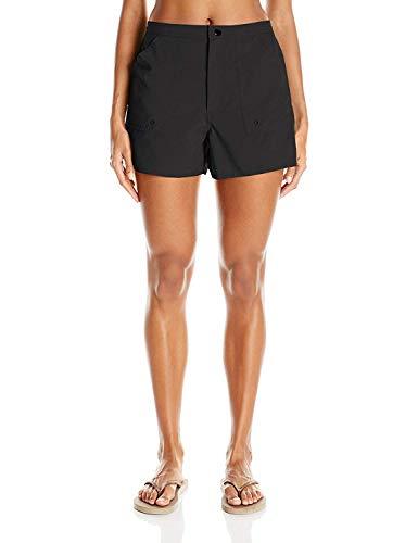 Maxine Of Hollywood Women's 3' Woven Swim Boardshorts, Black, 18