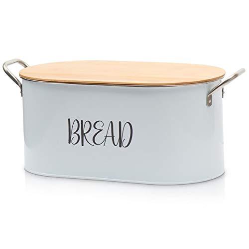 Bread Box, Bread Bin, Bread Box for Kitchen Countertop, Modern Farmhouse Bread Box, Bread Box with Cutting Board, Bread Container for Kitchen Counter, Rustic Bread Box, Large White Bread Box