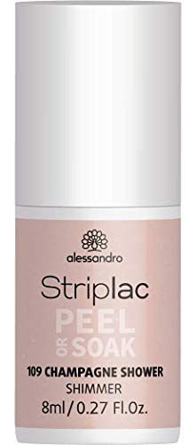 alessandro Striplac Peel or Soak Champagne Shower – LED-Nagellack in schimmernden Beige-Rosa – Für perfekte Nägel in 15 Minuten – 1 x 8ml