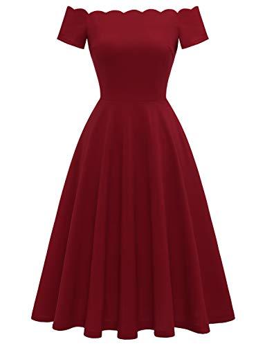 Dressystar Women's Off Shoulder Bridesmaid Vintage Cocktail Prom Dresses Tea-Length 0066 Dark Red XL