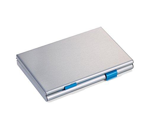 Troika CDC36/BL TWEI-kaartenetui met 2 openingen - met scheidingswand - voor ca. 21 eigen/vreemde visites/creditcards - aluminium - mat - titanium/blauw - het TROIKA-origineel