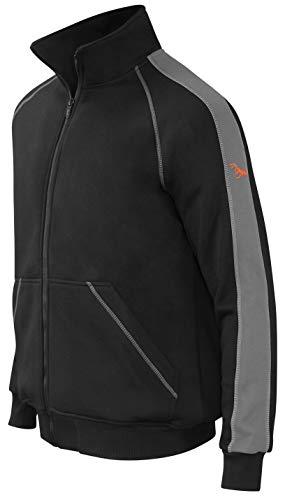 strongAnt Sportjacke mit Reißverschluss für Männer | Cooles Dickes Fleece Sweatshirt | Winterarbeits-Pullover | Hergestellt in der EU - Schwarz-Grau, Naht Grau XL