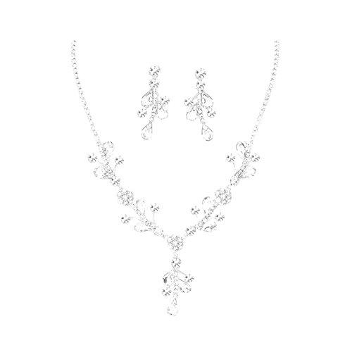 Schmuckanthony Glamour Hochzeit Brautschmuck Schmuckset Collier Necklace Set Silber Kette Lange Ohrringe Anhänger Blumen Blätter Kristall Klar Transparent