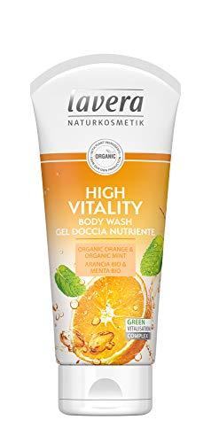 lavera High Vitality Gel Dusche Nutriente ∙ Vegan ∙ 100% Naturkosmetik 800 ml (PPack 4 x 200 ml)