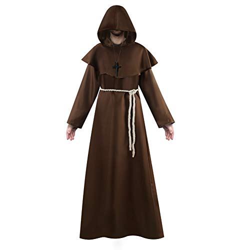 Vanansa Priester Mönch Kleid Kostüm, Mittelalter Kleidung Herren mit Kapuze als Priester Kostüm ideal für Halloween, Mottoparty, und Karneval Braun Braun Medium