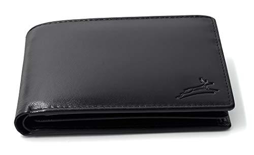 Fa.Volmer ® Praktische Schwarze Ledergeldbörse aus glattem Leder mit RFID-Schutz #SQ15111