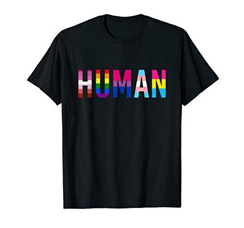 HUMAN LGBT Flag Gay Pride Month Transgender Rainbow Lesbian T-Shirt